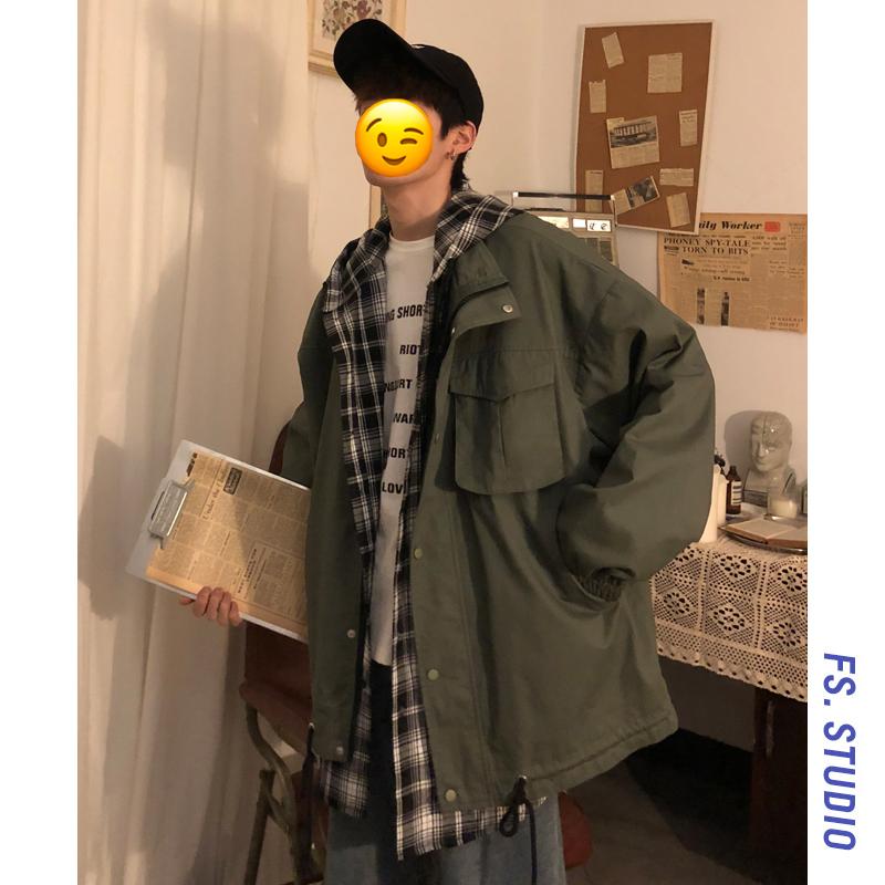 满98元可用5元优惠券@方少男装秋季韩版潮流假两件夹克