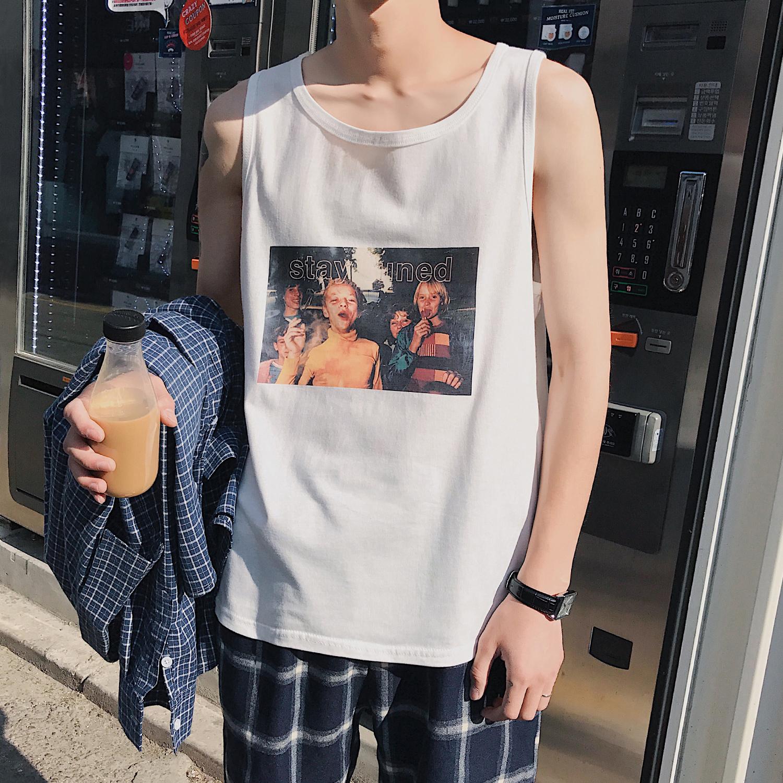 方少男装夏季潮男士无袖T恤青少年韩版运动宽松打底印花汗衫背心