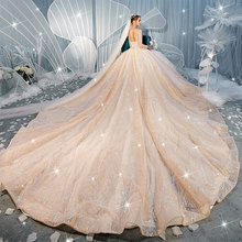 New long sleeve heavy worker star sky fantasy big tail luxury Hepburn bride champagne wedding dress