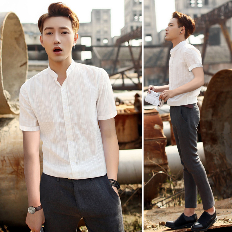 Summer casual cotton short sleeve mens shirt Korean version slim vertical stripe pure cotton stand collar white shirt fashionable thin and handsome