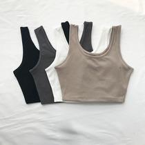 包邮新款基本款U型短款工字背心露脐紧身运动瑜伽宽肩带吊带女