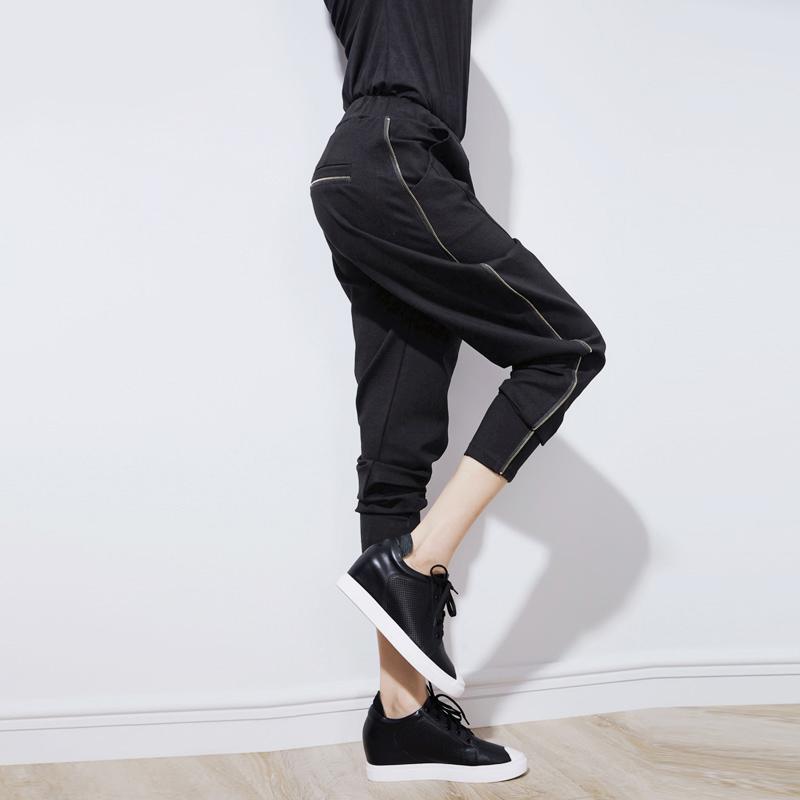 European station spring new slim Harlan pants womens Leggings zipper loose casual sportswear trend
