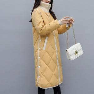 加厚时尚羽绒服女款中长款2021冬装新款韩版宽松休闲气质大码外套