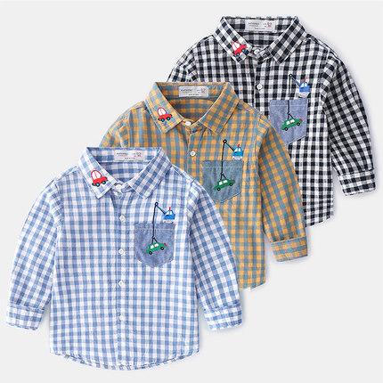 洋气刺绣儿童衬衣纯棉薄款宝宝格子上衣秋装新款童装男童衬衫长袖