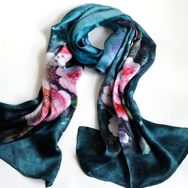 真丝丝巾女春秋夏百搭喷长款披肩百分百桑蚕丝领巾丝绸新品围巾和