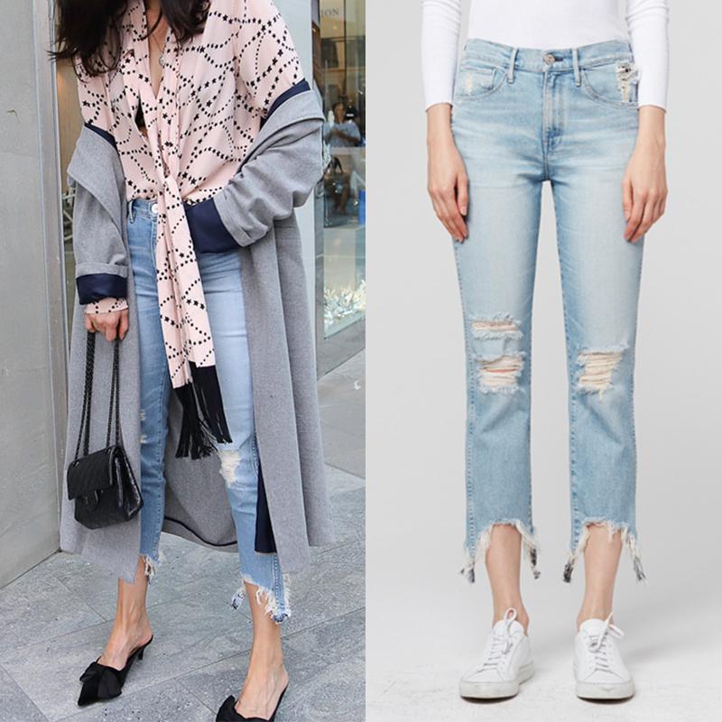 美国代购3x1denim浅蓝色高腰显瘦直筒破洞不规则毛边九分牛仔裤女