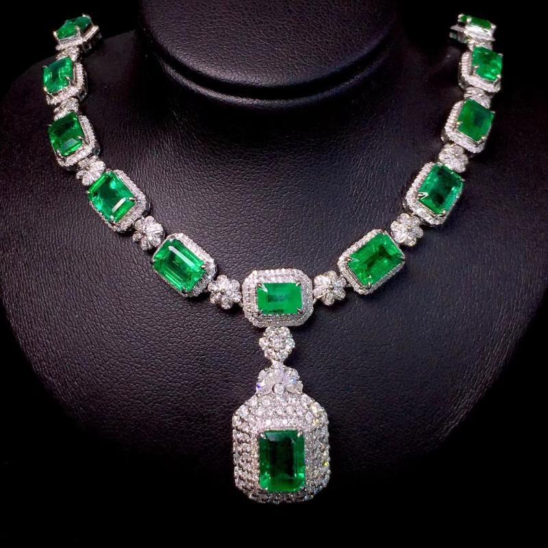 18k白金祖母绿项链颈饰玻璃体奢华钻石满镶高端礼服首饰宴会珠宝