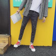 2017秋男式小脚牛仔裤弹力日系修身长裤铅笔裤BM108P78(控价95)