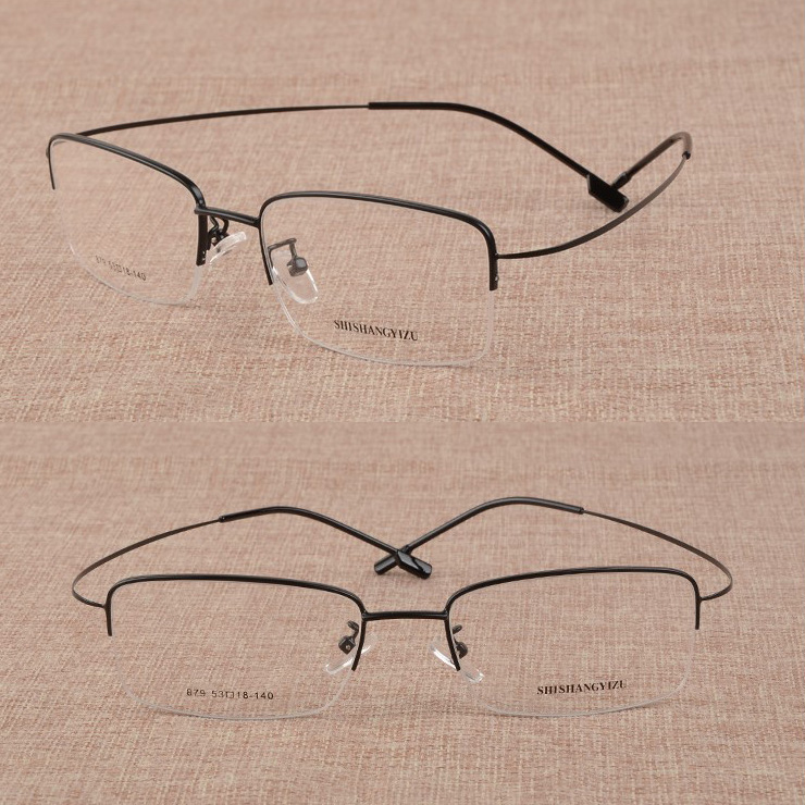 Super wide face spectacle frame for male myopia half frame large memory metal screwless thin leg spectacle frame online matching