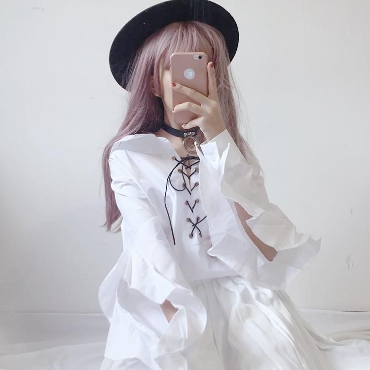 2018春装新款女装韩版学生宽松衬衣复古系带长袖上衣荷叶边白衬衫
