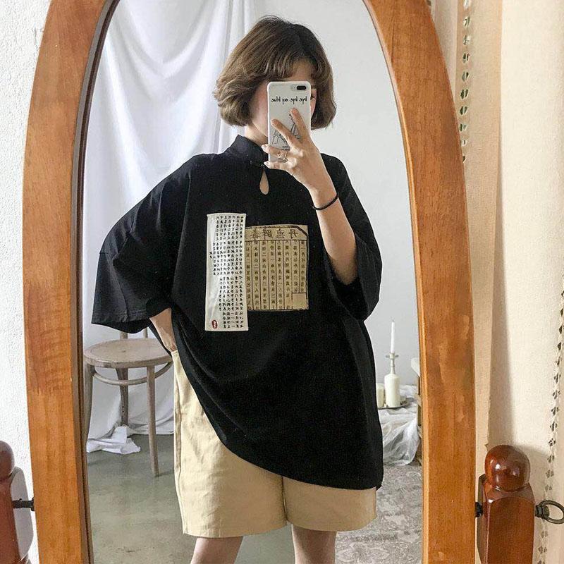 2018夏季新款女装少女唐风日系上衣短袖宽松T恤女生小清新中长款