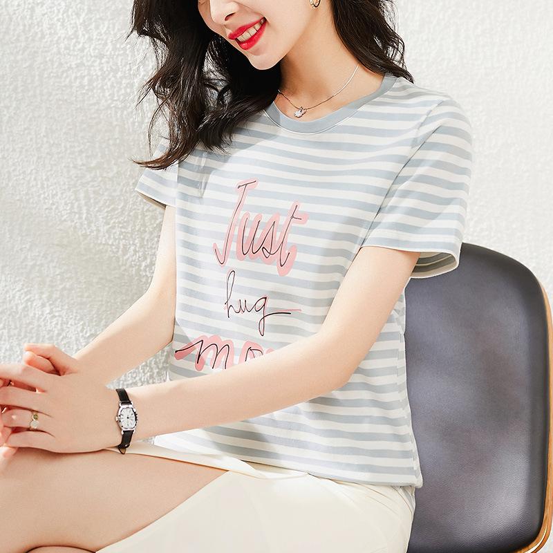 2021夏季圆领条纹棉灰色短袖套头短袖气质通勤宽松型韩版服饰T恤