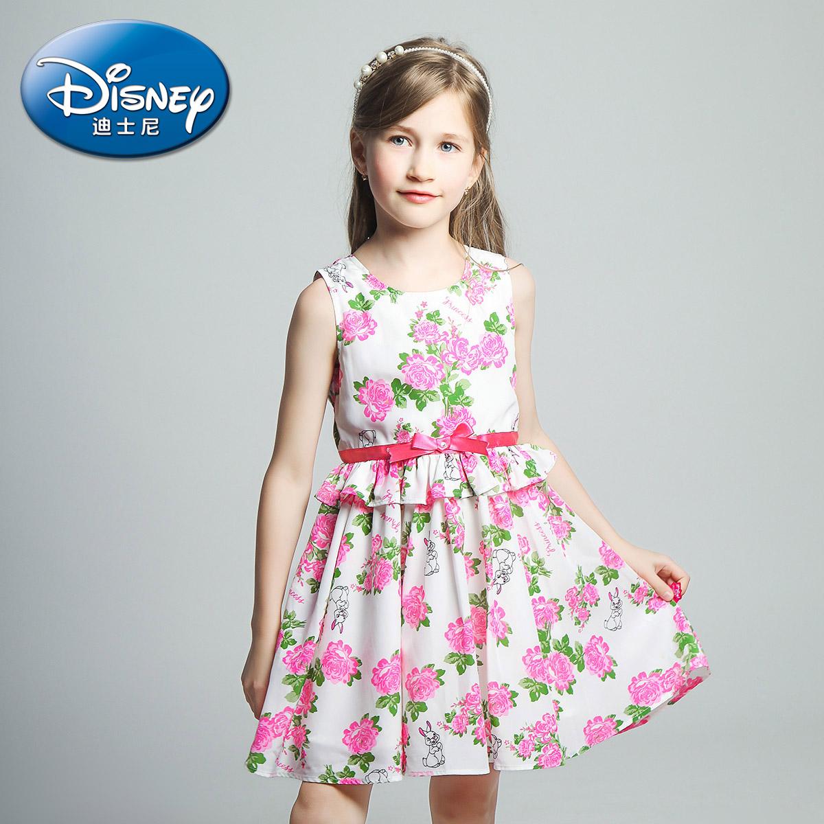 迪士尼女童雪紡兒童短袖裙
