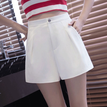 Summer 2019 New High-waist, Broad-legged and Leisure White Shorts for Female Trendy Students Korean Version of Loose and Slim A-shaped Pants