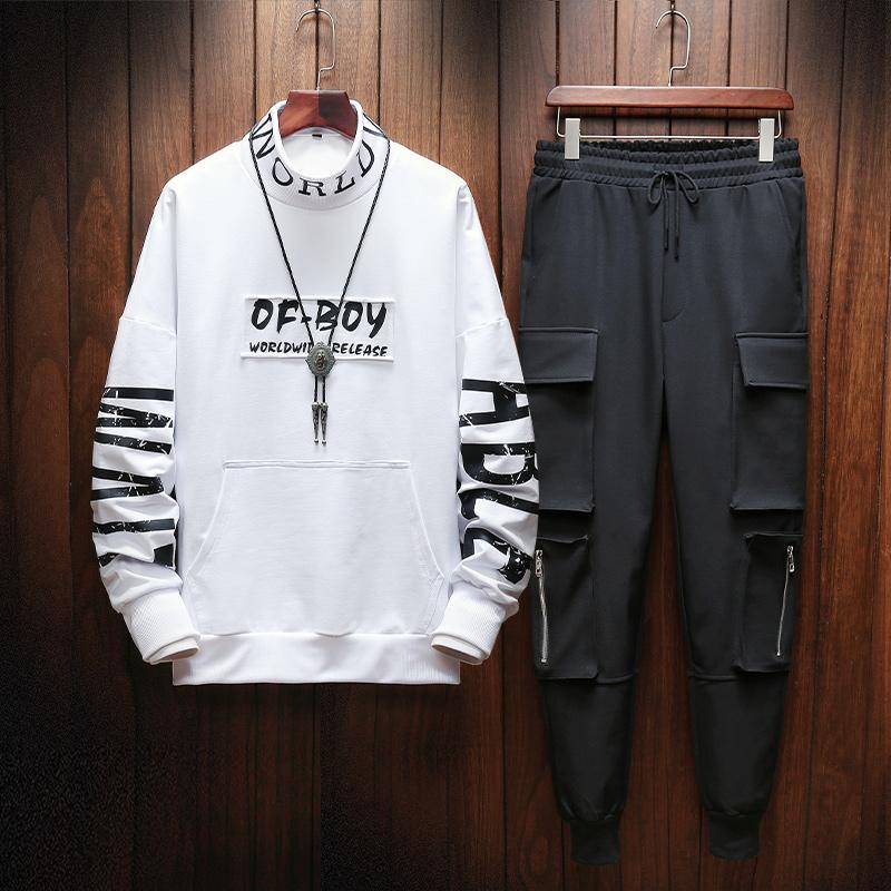 【控115】新款男装时尚半高领卫衣韩版潮流印花两件套BT113 P95