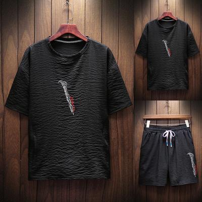 质感凉爽休闲短袖t恤套装男夏季潮流帅气青年短裤两件套B1181 P55