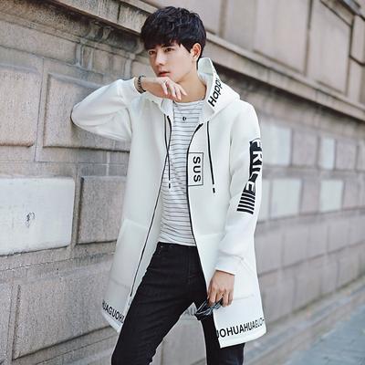 2017新款春秋季风衣男士中长款连帽韩版外套学生潮流披风B943 P55