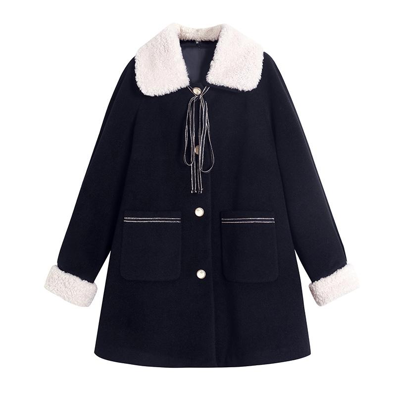蓝语胖妹妹mm羊羔毛领呢子大衣大码女装冬装新款宽松遮肉毛呢外套