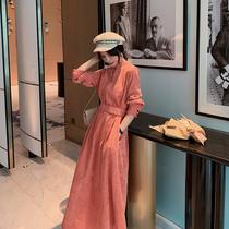蓝语大码女装胖妹妹mm气质显瘦灯芯绒连衣裙2019冬装新款复古裙子