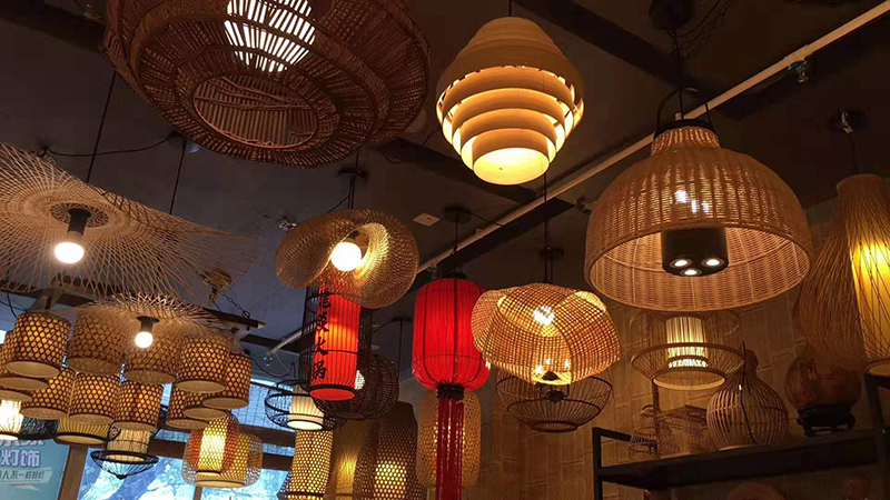 New Chinese creative art bamboo chandelier Chinese restaurant teahouse study Gallery garden farm designer lamp