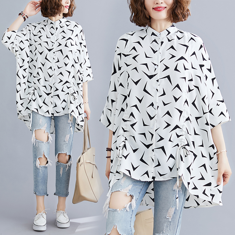 Summer geometric pattern super large loose fat sister standing collar shirt top womens extra extra large mm250kg