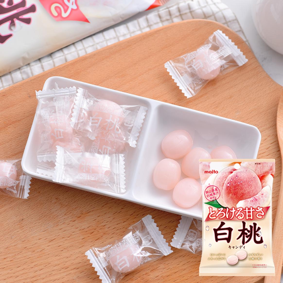 日本零食 meito名糖 白桃水蜜桃味硬糖果 浓厚桃子香味喜糖 75g12.00元包邮
