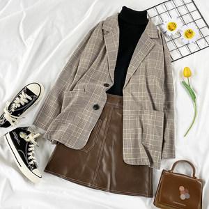时尚休闲套装港风格子中长款小西装高领针织打底衫+高腰A字短皮裙