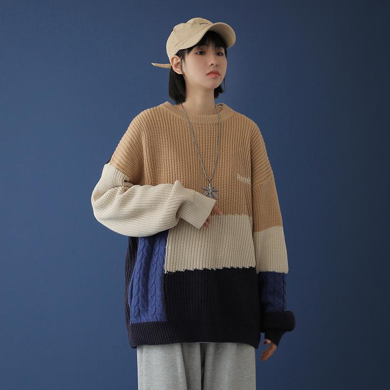 中性风 20秋冬拼接撞色刺绣宽松休闲毛衣针织衫M021-P75(限88)