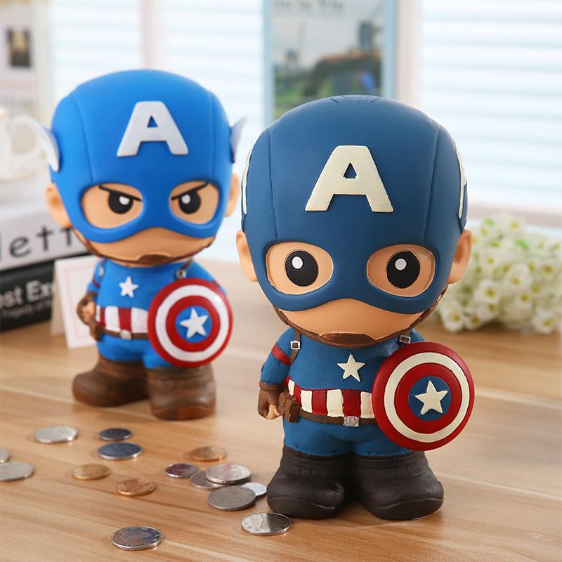 创意礼物美国队长储蓄罐大号儿童防摔存钱罐复仇者联盟蜘蛛侠摆件
