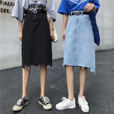 不规则撕边半身裙女2020春夏新款韩版高腰显瘦中长款A字裙牛仔裙