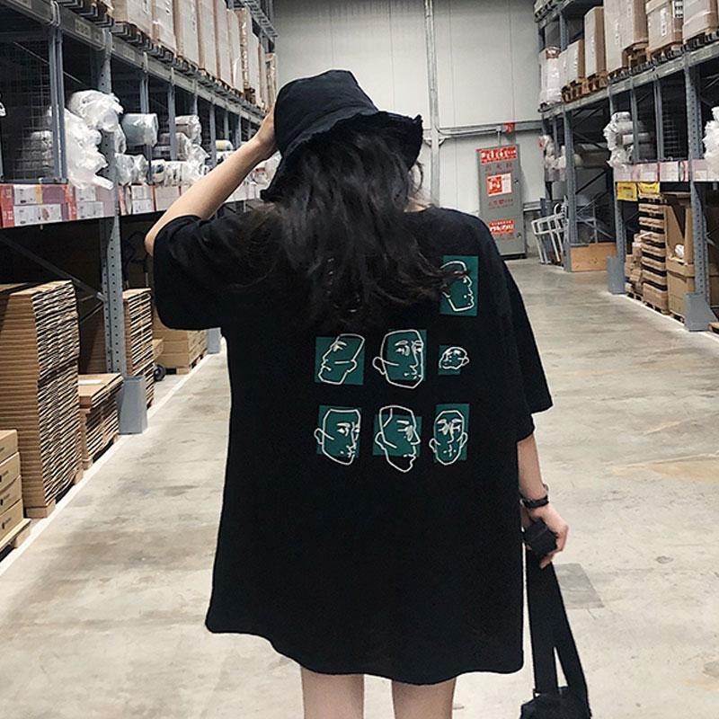 2018新款夏季韩版卡通动漫印花t恤女宽松显瘦中长款短袖上衣学生