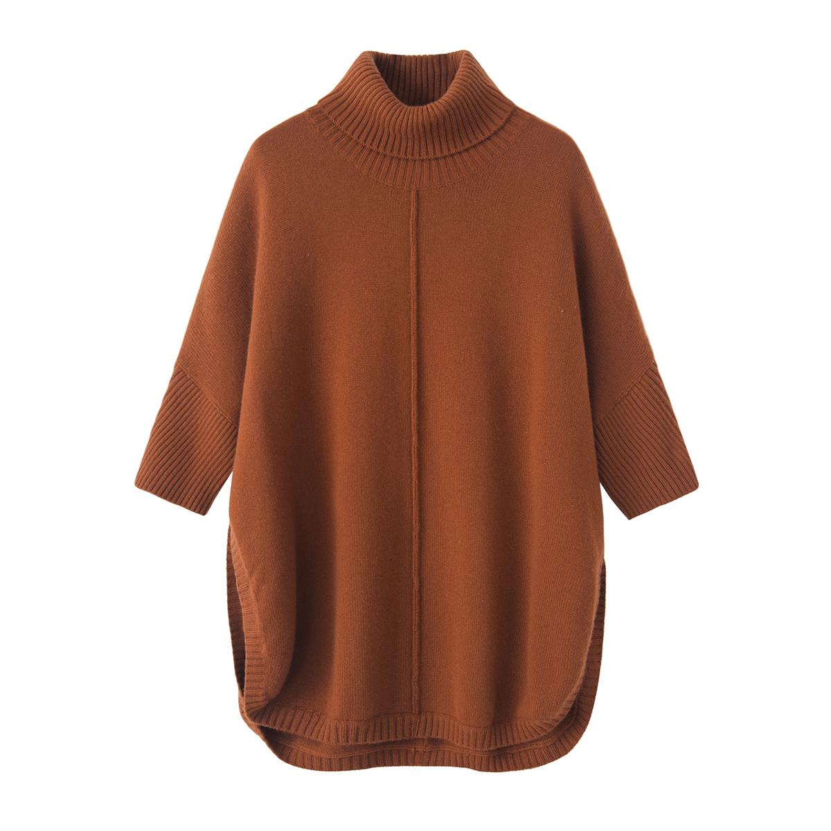秋冬女装羊绒衫女式高领加厚中长款斗篷宽松针织连衣裙时尚毛衣裙