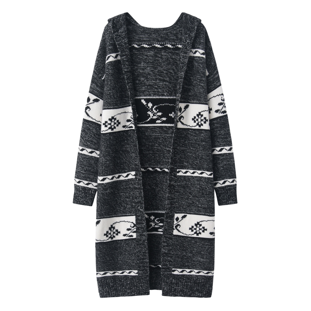 Autumn and winter fashion cashmere sweater womens Hooded Sweater thickened windbreaker jacquard Korean medium and long coat