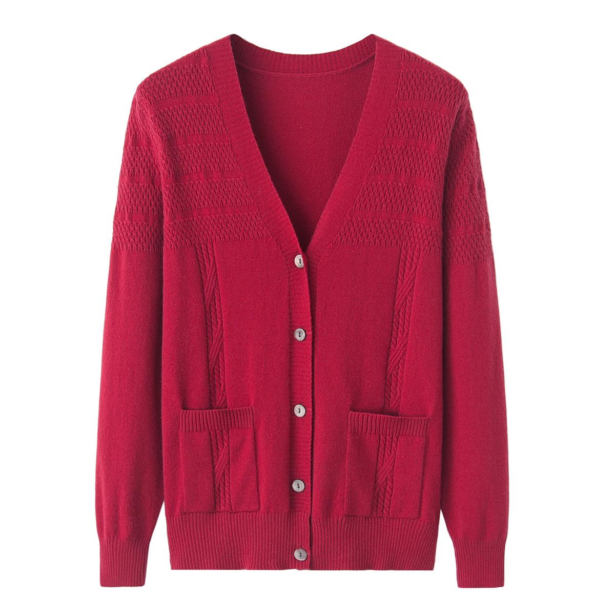 兴绒早秋新纯色羊绒衫女式V领绞花对襟开衫口袋针织宽松毛衣外套