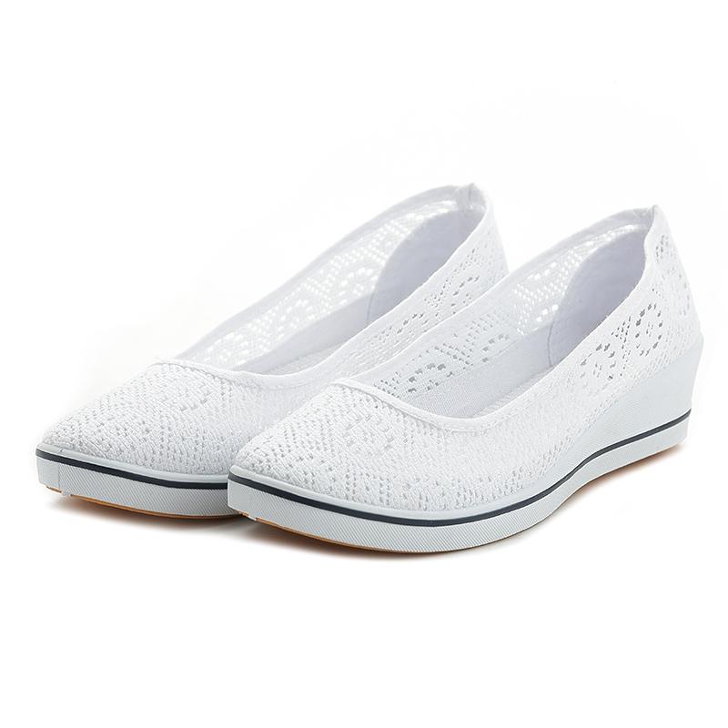 一字牌护士鞋女白色坡跟夏季美容鞋凉鞋镂空透气防臭平底小白网鞋