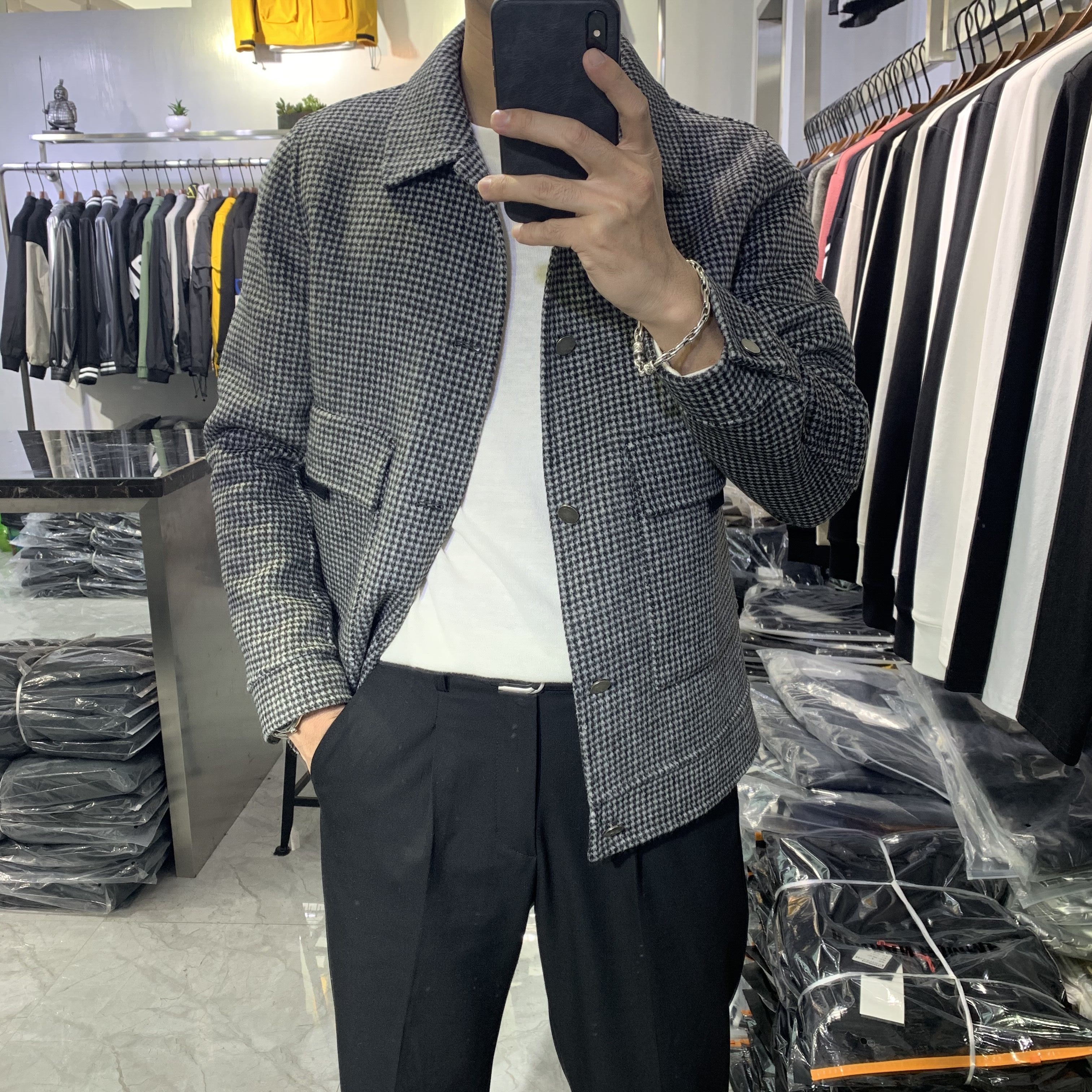 Wool coat mens jacket autumn and winter new British Plaid double-sided woolen short slim cashmere coat Korean version