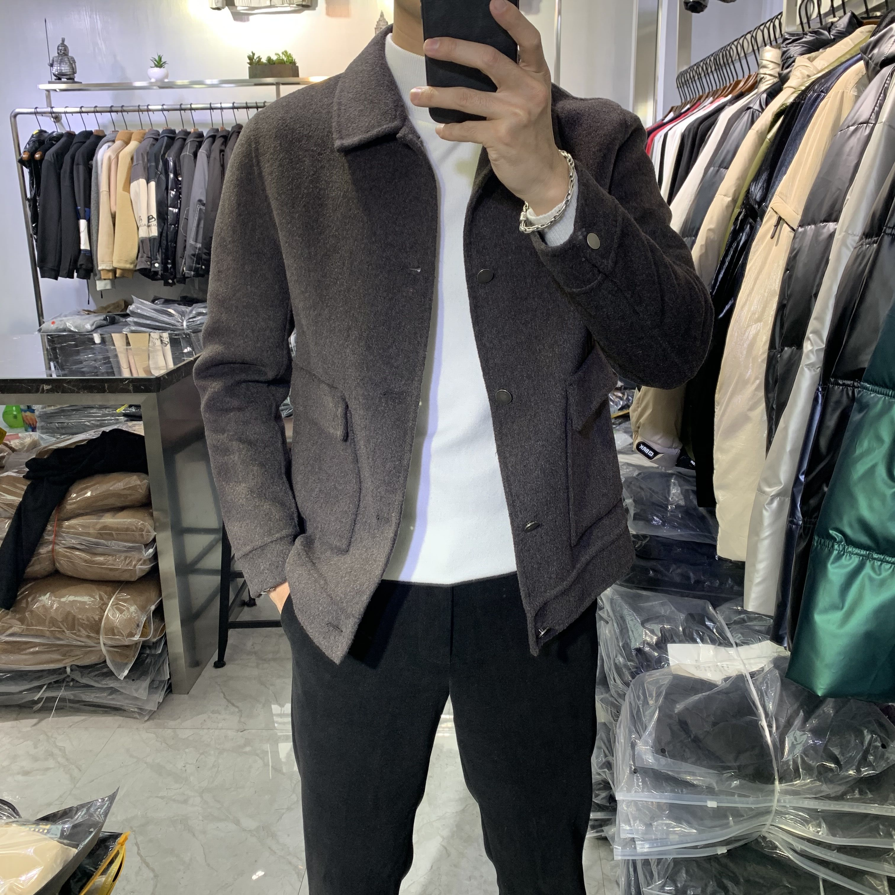 Lapel double-sided cashmere coat winter new short cashmere jacket mens wool wool coat Korean casual