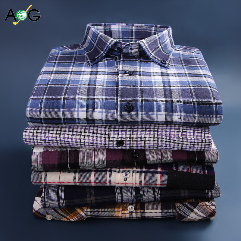 Plaid Shirt Mens long sleeve cotton youth leisure middle-aged fathers wear ground thick large shirt