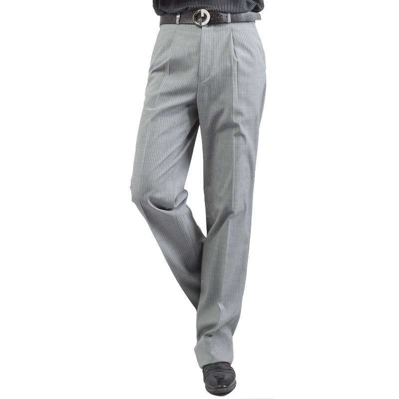 Red bean mens suit pants summer thin business dress pants easy iron loose wool pants middle aged mens trousers