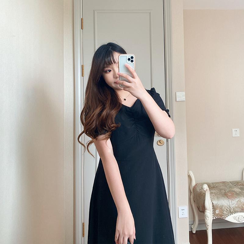 大头郭郭夏季新款微胖mm黑色连衣裙