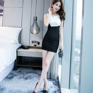 夏季裙子女新款2019黑白撞色拼接包臀修身性感短裙无袖背心连衣裙