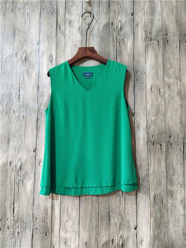歐美女裝夏季新款V領無袖上衣時尚清涼背心馬甲T恤女雪紡衫16-12