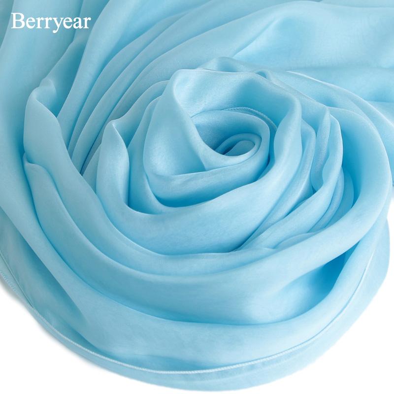 天蓝色真丝丝巾女士春秋百搭纯色长款桑蚕丝围巾纱巾夏季防晒披肩