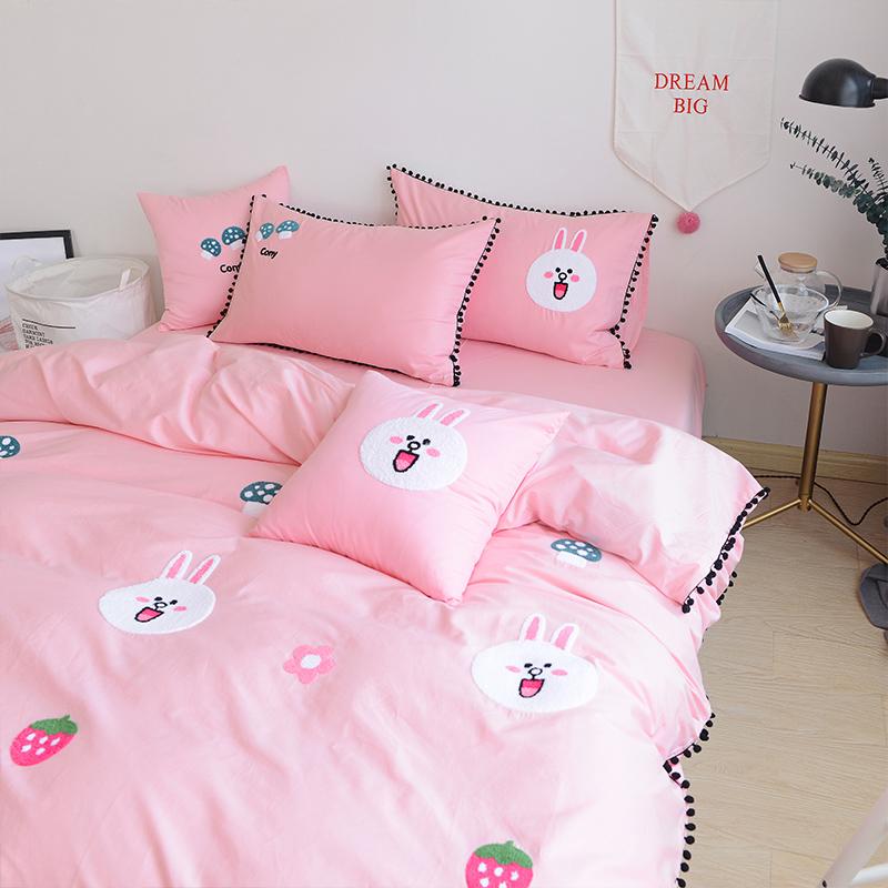 全棉绣花床上四件套纯棉1.8m床双人2米被套床单刺绣床品可妮兔