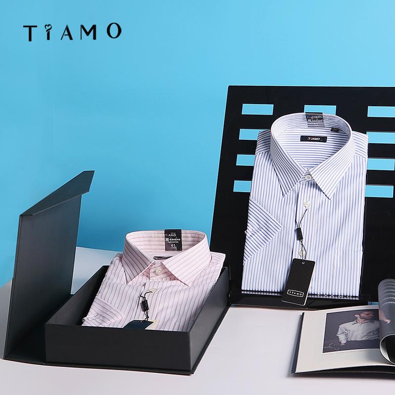 Tiamo diemo summer mens thin 100% cotton no iron classic business stripe short sleeve shirt