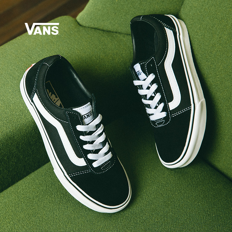 Vans Vans official black and white trend side striped retro women's shoes low-top trendy sneakers