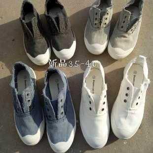 新款毛边水洗做旧贝壳头软底帆布鞋