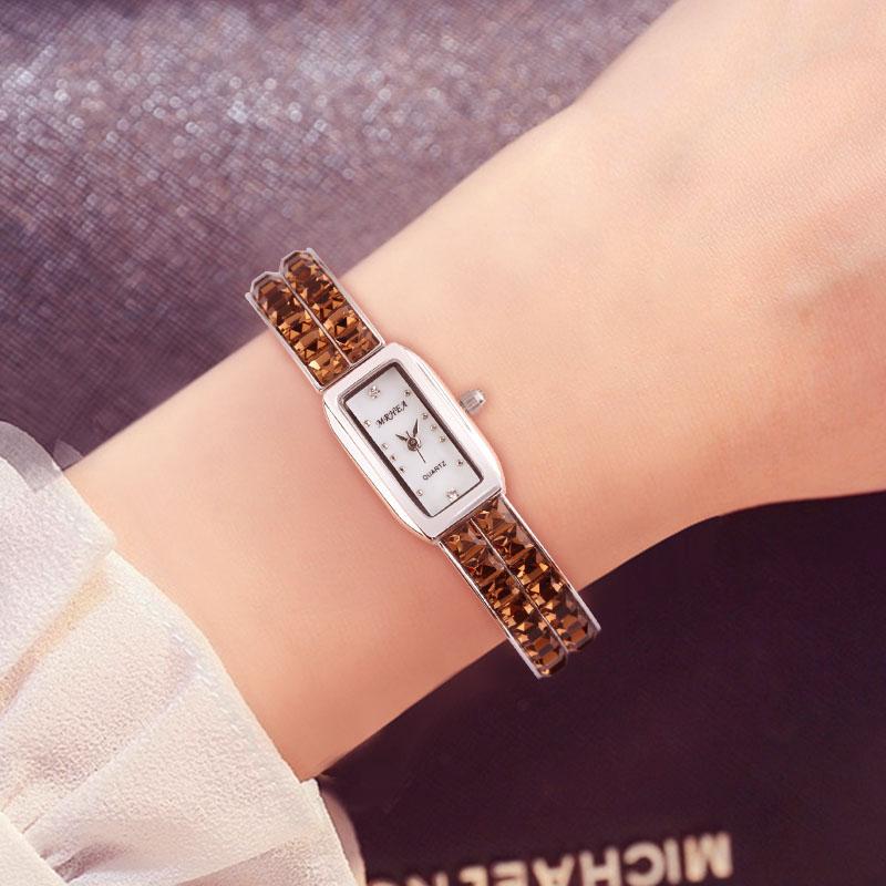 2018新款香港MRHEA女表 手镯水晶 手表时尚腕表 小巧水钻装饰手表