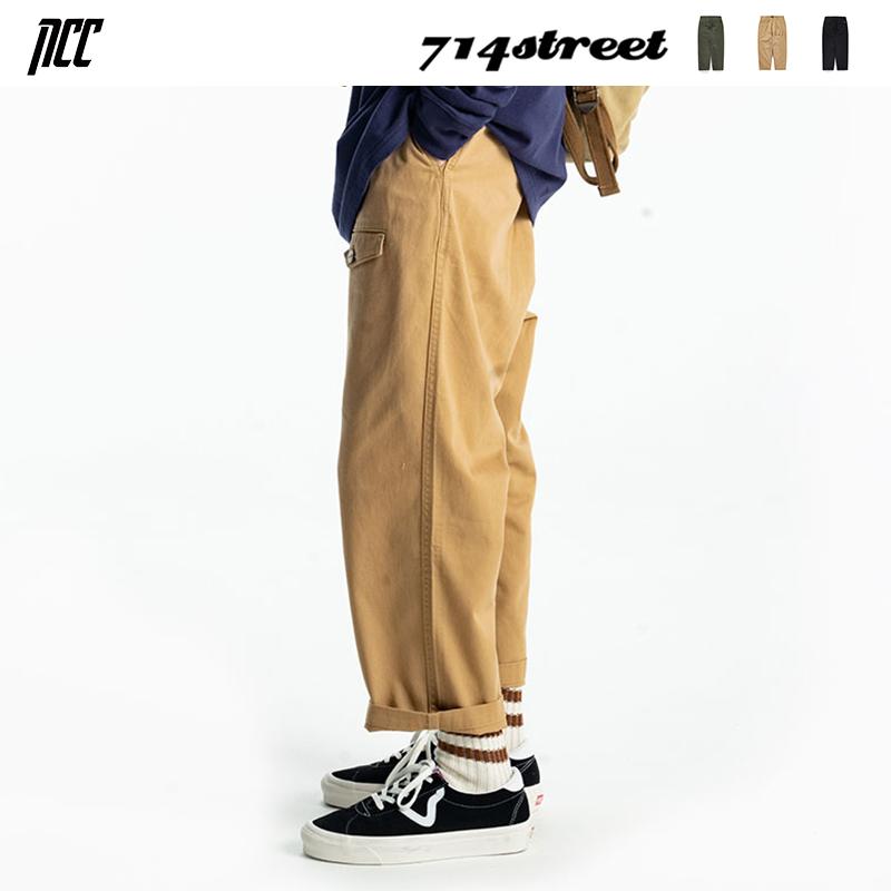 新衣城 714street日系纯色九分裤男宽松休闲裤多口袋直筒裤子潮秋图片