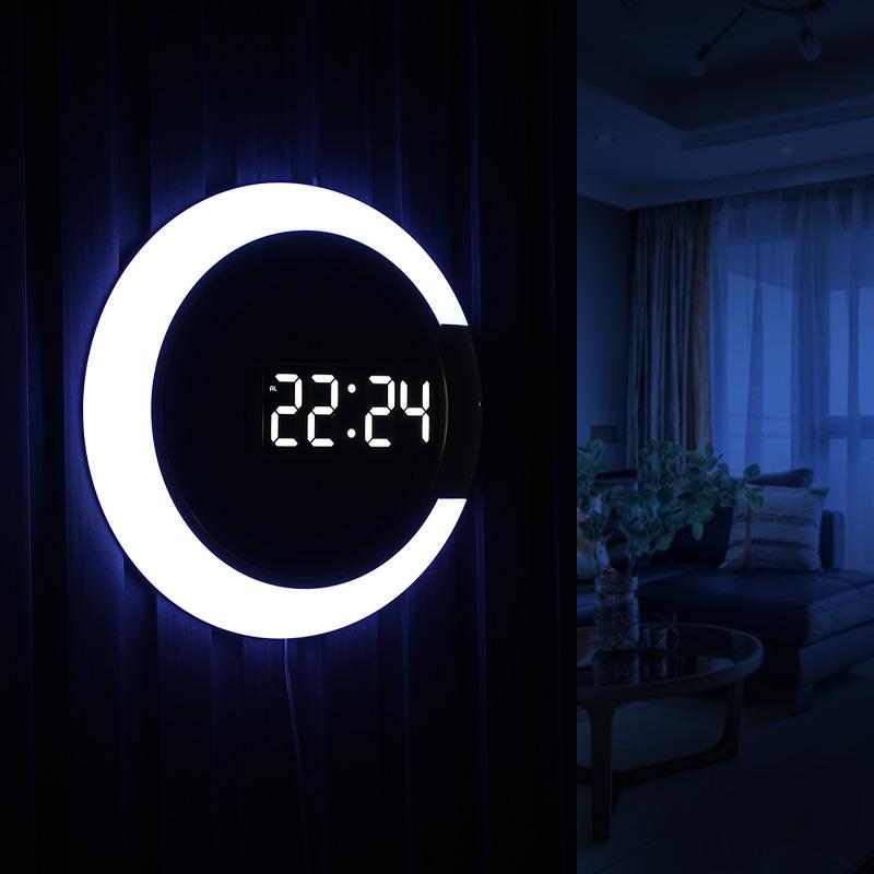 LED夜光电子时钟挂墙挂钟客厅家用时尚创意钟表轻奢简约数字挂表